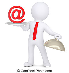 3d man holding a sign e-mail on the dish. Isolated render on...