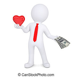 3d man changes heart on money. Isolated render on a white...