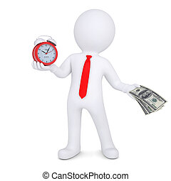 3d man changes the time on money. Isolated render on a white...