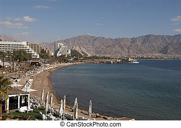 Winter in Eilat - Central beach of Eilat on the Red...