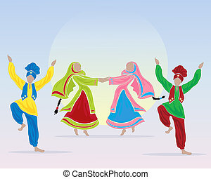 punjabi performers - an illustration of punjabi dancers...