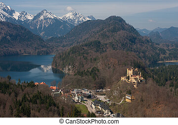 hohenschwangau castle at spring