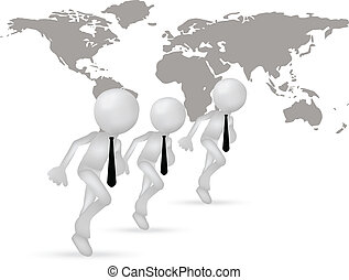 3d business men running through the world