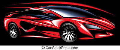 new red sport car design made be me isolated on black...