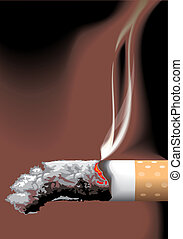rest of cigarette and the smoke pervect art vector