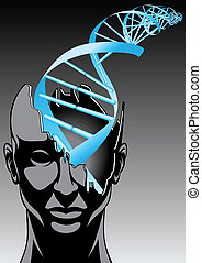 man and DNA spiral - future of biology technologies abstract...