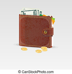 Wallet and coins isolated - Vector wallet and coins isolated