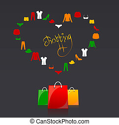 Vector shopping bags and clothes heart - shopping bags and...