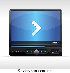 Vector Video Player Skin blue isolated