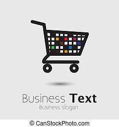 abstract colorful shopping cart icon or symbol- vector...