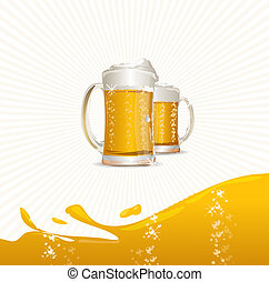 Beer mugs on white - vector mugs