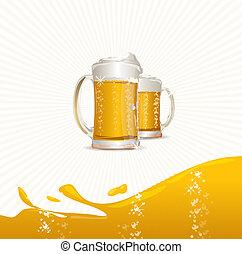Beer mugs on white - vector mugs