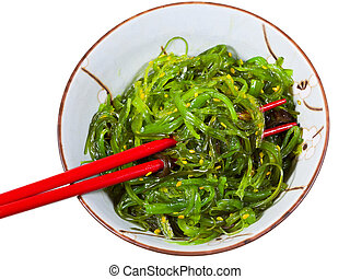 eating of chuka seaweed salad