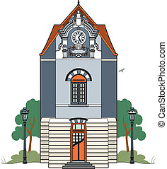 Building a clock - Vector illustration of an old house