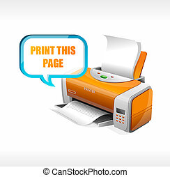 Vector printer isolated on whote and text