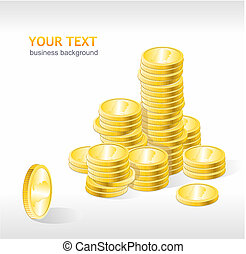 Vector coins stack with text