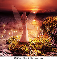Fantasy magic world. Pixie and sunset - Fantasy magic world....