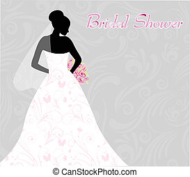 Bridal shower invitation with brides silhouette on swirls...
