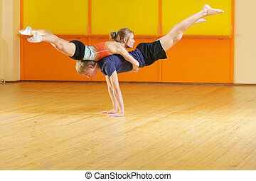 Couple training in gym