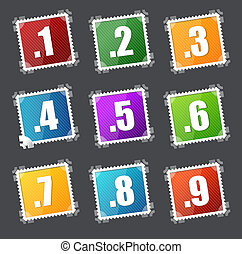 Numbers stamps set 1-10