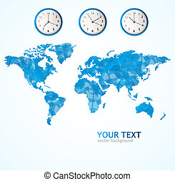 Vector world map blue