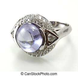 ring with purple gem isolated on white