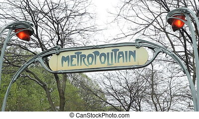 Metropolitain sign. - Metropolitain sign indicates a Paris...