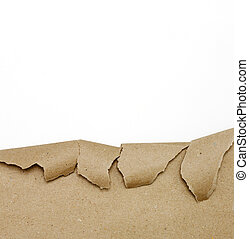 Ripped brown paper on white background