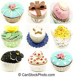 Mural of several cupcakes surrounded by white background