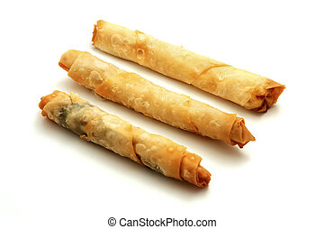 Cigarette burek on a white background