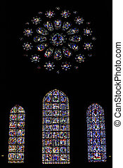 Stained glass in a cathedral - Beautiful stained glass in a...
