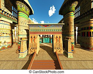 Egyptian temple - Egyptian columns in a temple