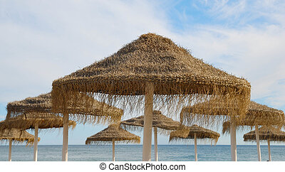 Straw umbrellas on a beach in Marbella, Spain.