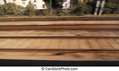 Train travel in the UK. Rails. - Travelling by train in the...