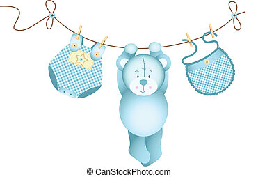 Teddy bear baby boy hanging - Scalable vectorial image...