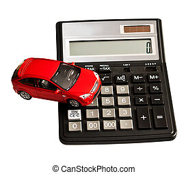 Toy car and calculator Concept for buying, renting,...