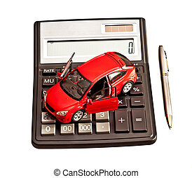 Toy car and calculator over white Rent, buy, repair or...