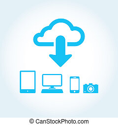 cloud app icon mobile phone vector
