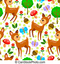deer pattern - seamless pattern with baby deer and forest...