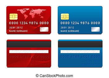 redit Card template - Credit Card template. Front and back...