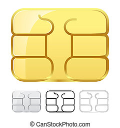 Sim card chip isolated on white background.