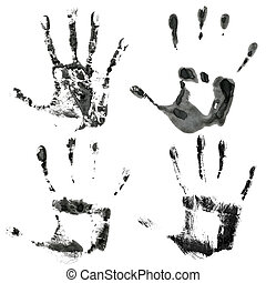 Black hands print - Black print of four hands isolated on a...