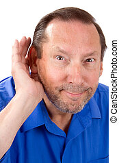 Senior Hard Of Hearing - Senior man with a hearing loss cups...
