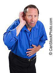 Senior Hearing Loss - Senile senior adult male cups his hand...