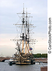 Old corvette - The old three-mast sailing vessel, equipped...