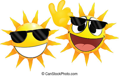 Smiling sun Emoticon holding a glas - Vector Illustration Of...