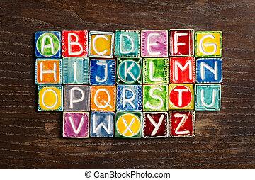 Handmade ceramic alphabet - Colorful handmade ceramic...