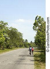 ville, voisinage, autour de, garçons,  PHILIPPINES, leur, petit, faire vélo,  cavite