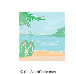 Summer holiday background with footprints