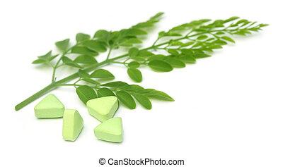 Edible moringa leaves with pills
